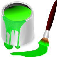 GREEN PAINT IN BUCKET