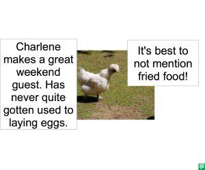 CHARLENE THE CHICKEN RENTAL