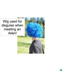 WIG USED FOR DISGUISE WHEN MEETING AN ALIEN