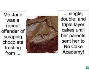 ME-JANE WENT TO NO CAKE ACADEMY