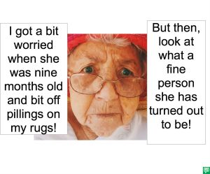 ANNA LOU VERY-PICKY'S GRANDMA PILLING ON RUGS