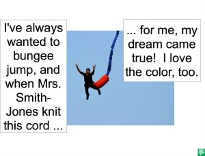 MAN BUNGEE JUMPING WITH KNIT CORD