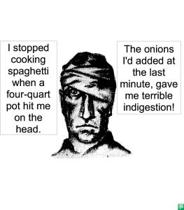 MAN WITH BANDAGED HEAD ONIONS