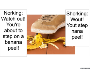 PERSON STEPPING ON BANANA PEEL SHOSRKING