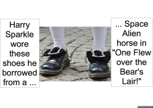 HARRY SPARKLE AND SPACE ALIEN HORSE'S SHOES