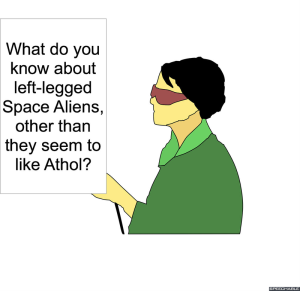 LEAD REPORTER THREE-LEGGED SPACE ALIENS