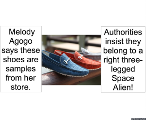 SHOES FOR A RIGHT THREE-LEGGED SPACE ALIEN