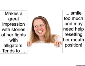 WOMAN SMILING ALLIGATORS